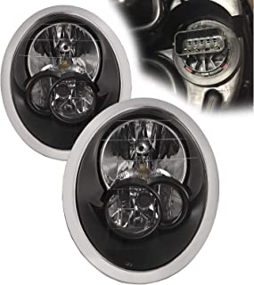PERDE Compatible with Mini Cooper Headlights Assembly Halogen Headlamp Assembly Black Housing Set Pair