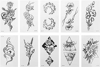 Beaupretty 20Pcs Zwart Tijdelijke Tattoo Sticker Pols Hand Gezicht Body Fake Tattoos Creative Patroon Waterdicht Tatoeages...