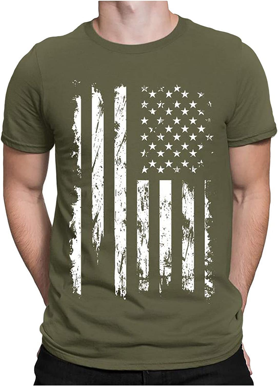FUNEY USA American Flag Patriotic Men's T Shirt 3D Digital Printed Design Pattern T-Shirts Top Tees 4th of July Party Tees