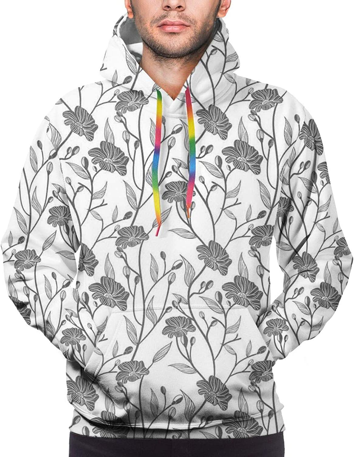 TENJONE Men's Hoodies Sweatshirts,Modern Graphic Design of A Round and Radial Shape with Ombre Effect