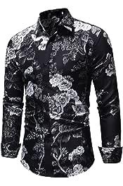 QUICKLYLY Camisa Hombre Manga Larga Estampada Flores//Ancla//Vintage//Regular Camisas Vestir Fiesta Slim Fit Cuello Mao,Camiseta Estampado Mangas Largas Cr/áneo Rosa