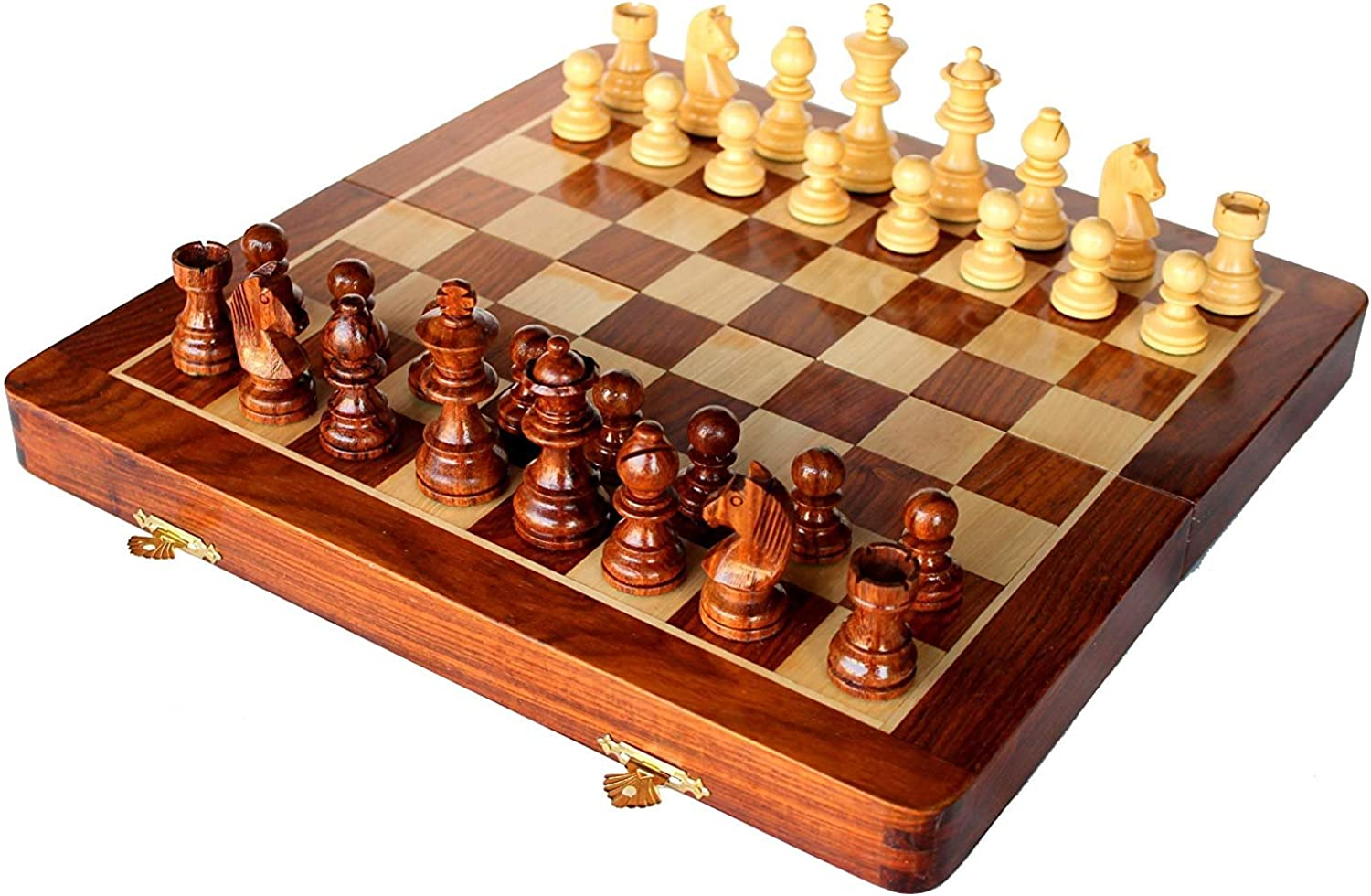 Fasherati Collectible Folding Wooden Chess Game Board Set with Magnetic Crafted Pieces