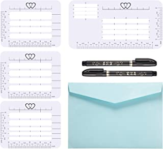 Gejoy 7 Pieces Envelope Addressing Guide 4 Style Addressing Stencil Templates for Envelopes with 2 Size Brush Pens, Making Thank You Card, Festival Cards, Wedding Invitations, Party Invitations