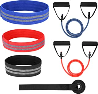 Odoland 5 Packs Resistance Bands with 3 Hip Bands and 2 Exercise Tube Bands, Door Anchor Workout Bands for Legs and Butt– Perfect Bands Set for Crossfit, Yoga, Physical Therapy, and Booty Building