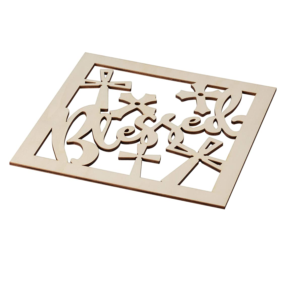 Genie Crafts 2-Piece Unfinished Wooden Blessed Cutout, Cross Wall Art Decor for Painting, DIY Wood Crafts, and Signs, 11.6 x 0.2 Inches