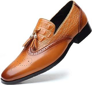 JRYⓇ Mocassins pour Hommes - Chaussures en Cuir décontractées, Chaussures de Conduite à Bout Rond, Chaussures Plates à Sem...