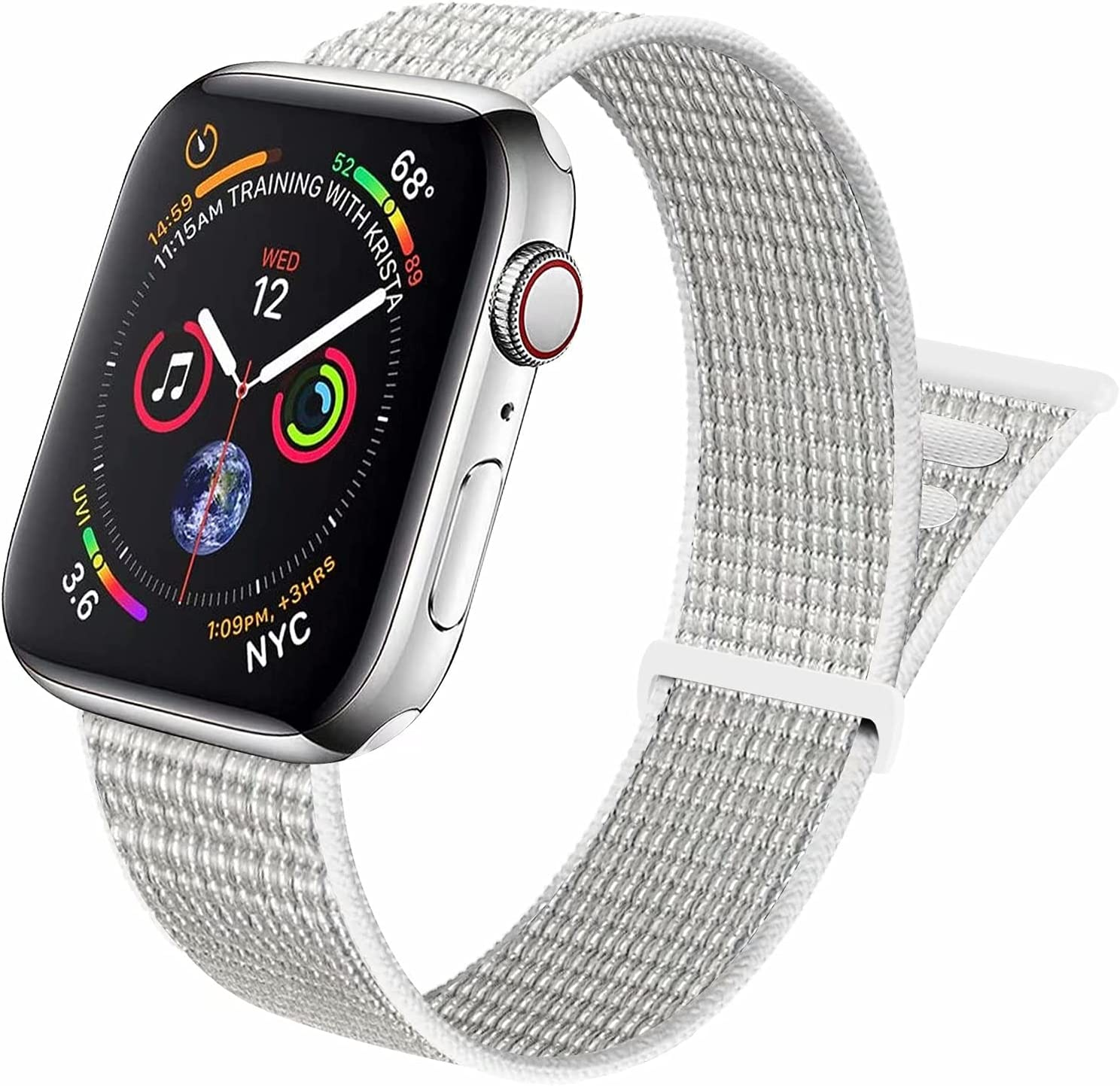 Aipeariful Nylon Solo Loop Compatible with Apple Watch Band 38mm 40mm 41mm 42mm 44mm 45mm,Women Men Adjustable Sport Braided Strap for iWatch Series SE/7/6/5/4/3/2/1,Seashell,38/40/41mm