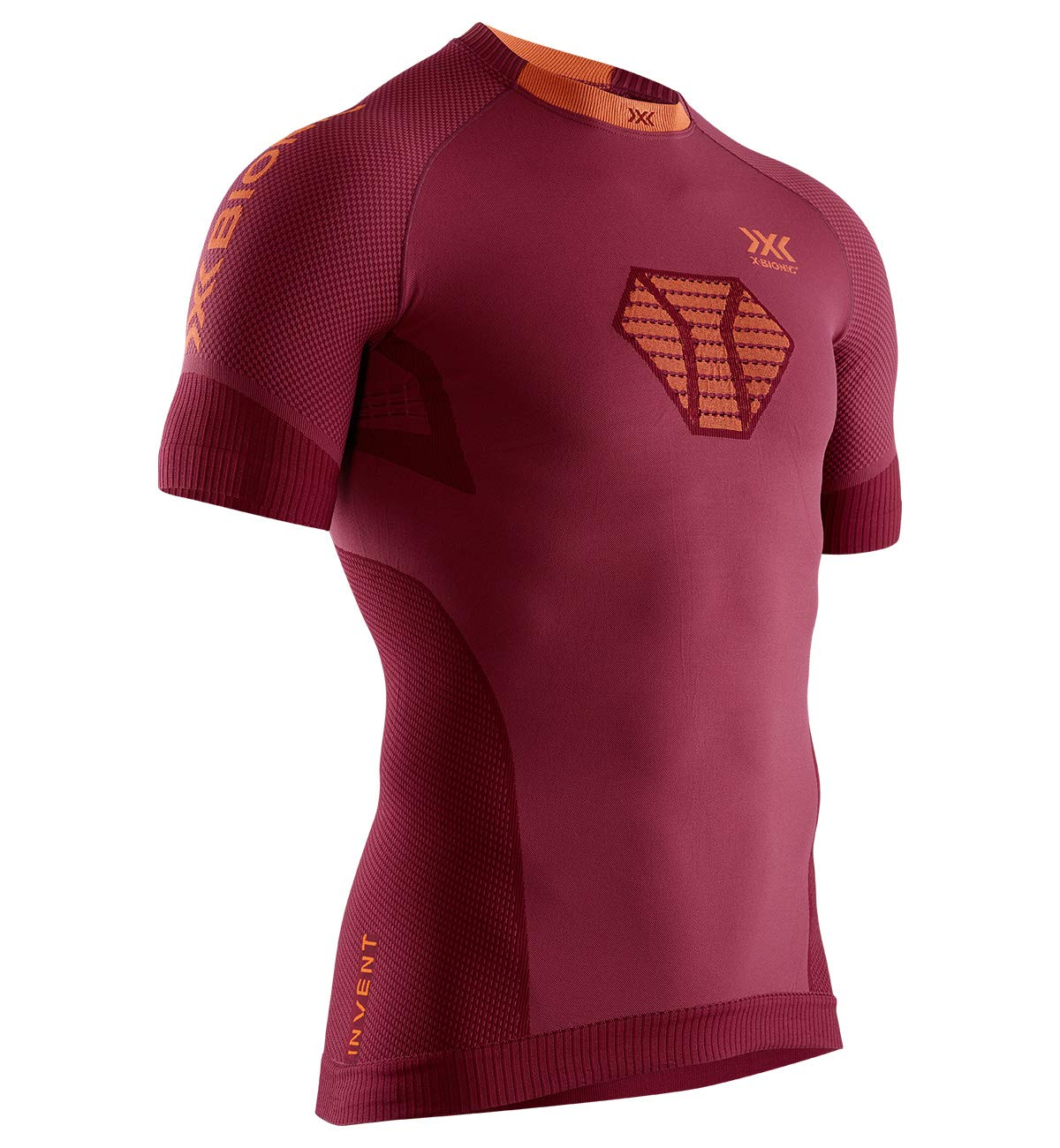 X-Bionic Herren Invent Run Speed, Short Sleeve Shirt, namid red/kurkuma orange,