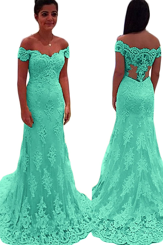 CL Bridal Women's Lace Appliques Cap Sleeve Off Shoulder Mermaid Prom Dress