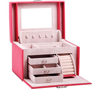 Black White Girls Jewellery Gift Box Rings Necklace Storage Organizer Lockable 44 (Coral)