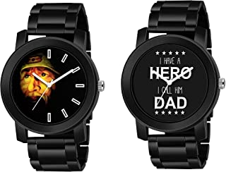 Raiyaraj Black Stainless Steel Belt Watch Combo for Mens and Boys
