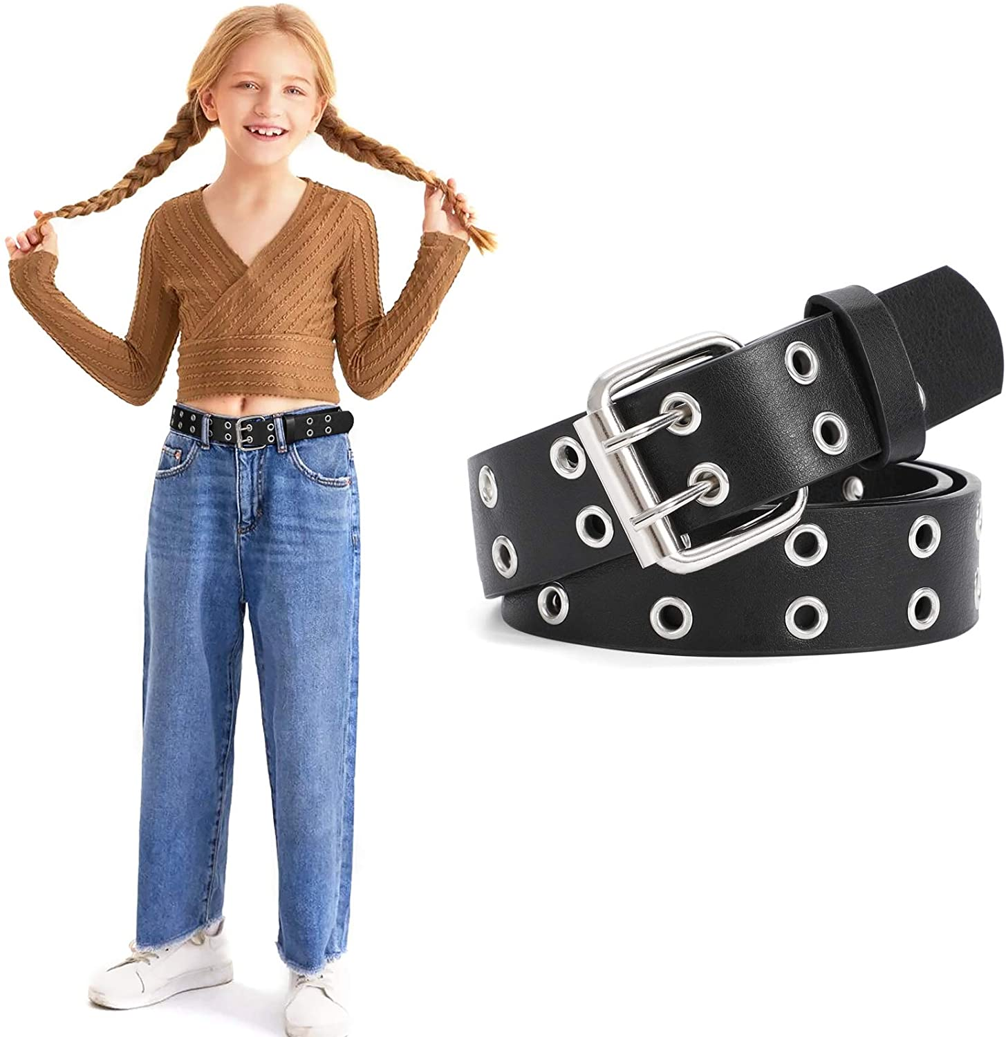 Kids Double Grommet Belts With Holes for Girls Boys PU...