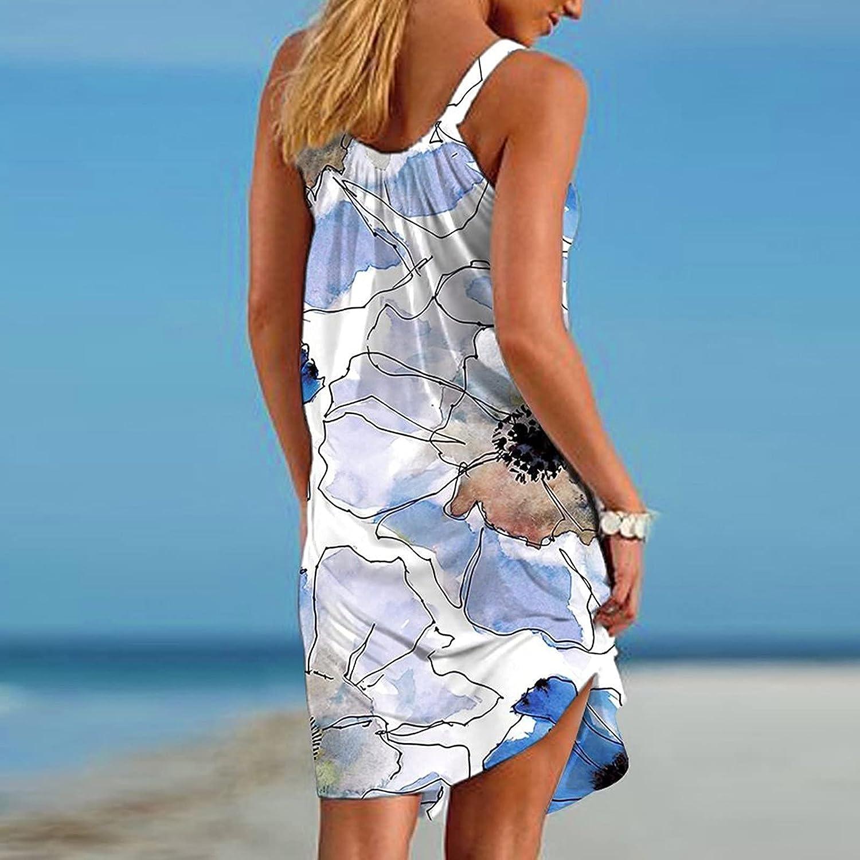 GOODTRADE8 Dresses Maxi Dress Summer Dress Sundress Women's Boho Floral Printed Dress Sleeveless Tshirt Beach Mini Dresses