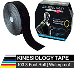 TheraBand Kinesiology Tape, Waterproof Physio Tape for Pain Relief, Muscle & Joint Support, Standard Roll with Application Indicators, 2 Inch x 103.3 Foot Bulk Roll, Black/Black
