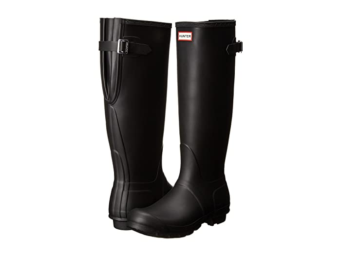 Hunter  Original Back Adjustable (Black) Womens Rain Boots