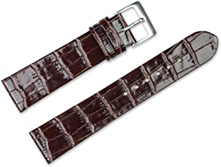20mm Replacement Leather Watch Band - Alligator Grain Flat - Brown Watch Strap