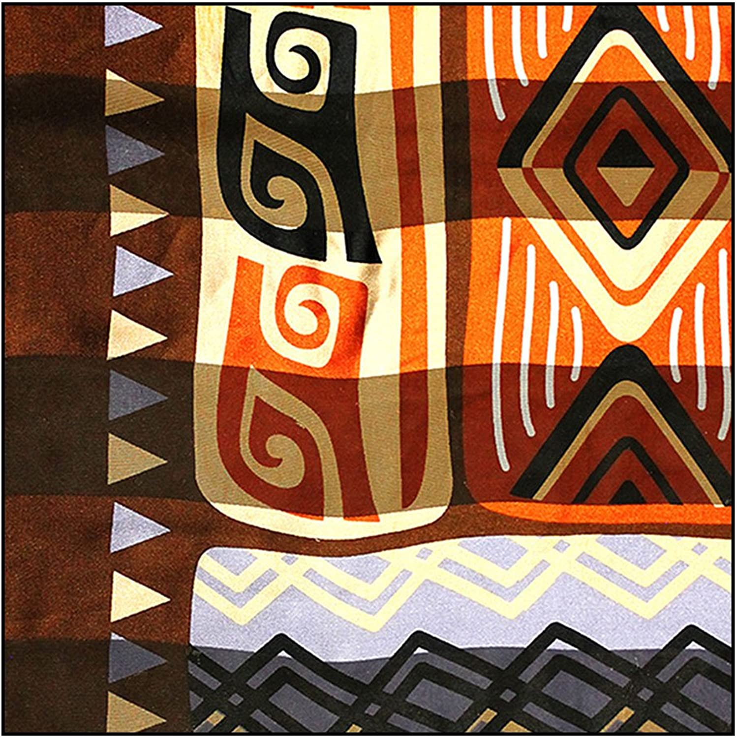African Geometric with Giraffe Large Lightweight Square Silk SatinFeel Scarf (Earthy Brown, 40  x 40 )