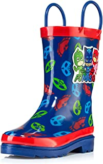 PJ Masks Little Boys' Character Printed Waterproof Easy-On Rubber Rain Boots (Toddler/Little Kids)