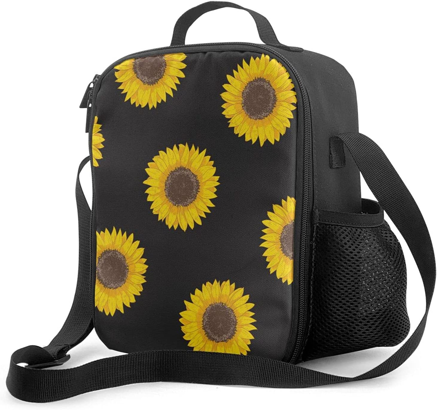 Sunflower Charlotte Mall black Lunch Bag Women Tote for Box [Alternative dealer]