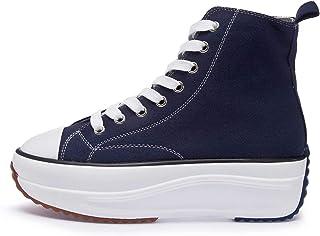 Basket en Toile Montante Femme Classique Casuel Lacet Plateforme Chaussure Montantes Fille Mode Confortables Compensee Sne...