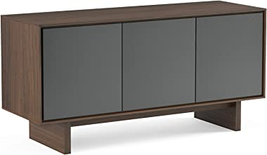 BDI Furniture Octave Triple-Width Media Cabinet - Toasted Walnut with Grey Flat Doors