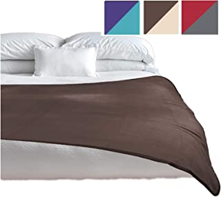 TOP Waterproof Blanket, Deluxe Bed and Furniture Protector for People and Pets, Reversible, Leak Proof Moisture Barrier, Soft Fleece (Brown Beige Reversible, Jumbo 80x60)