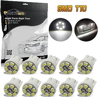 Partsam T10 194 168 LED Light Bulbs for Interior Lights Map Dome Door Courtesy License Plate Instrument Panel Gauge Cluster Dashboard Light Bulbs-10pcs White