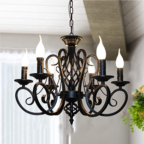 Ganeed Rustic French Country Chandelier 6 Lights Farmhouse Candle Iron Chandeliers Vintage Metal Pendant Light Fixture For Kitchen Island Dining Room Bedroom