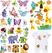 Iron on Patches for Kids Clothes 3 Set Cute Cartoon Animal Butterfly Applique Patches DIY Badges Washable Heat Transfer Stickers for Baby T-Shirt Dress Jean Jacket Clothing Decoration