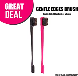 Gentle Edges Brush, Double-Sided Edge Bristles & Comb 2-in-1,(Colors may vary, One Brush) Same as Camryn's BFF