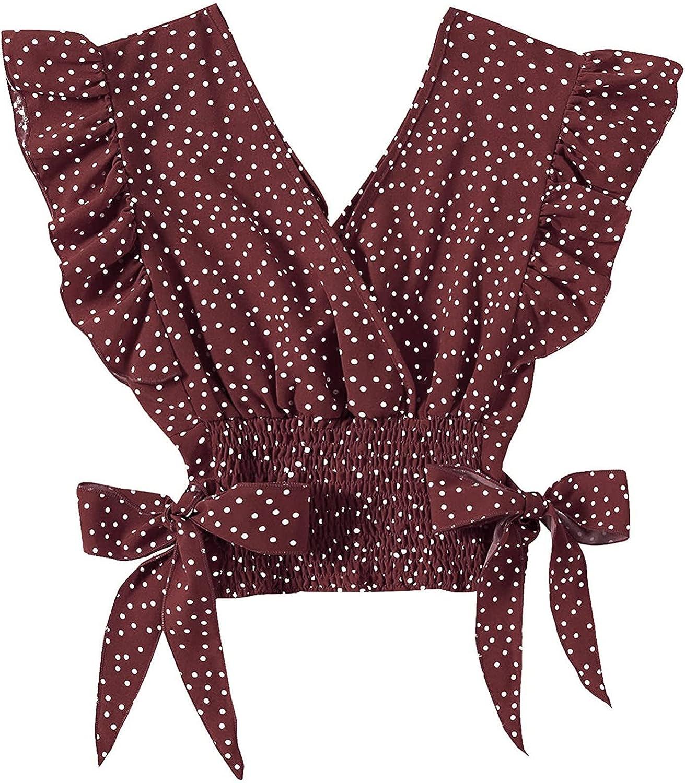 Crop Tank Tops for Women Sexy Hem 35% OFF Knit New life Ruffle V Cami Neck
