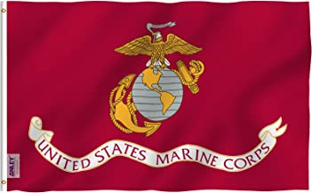 Anley 3x5 Foot US Marine Corps Flag - Vivid Color and UV Fade Resistant - Canvas Header and Double Stitched - United States Military Flags Polyester with Brass Grommets 3 X 5 Ft