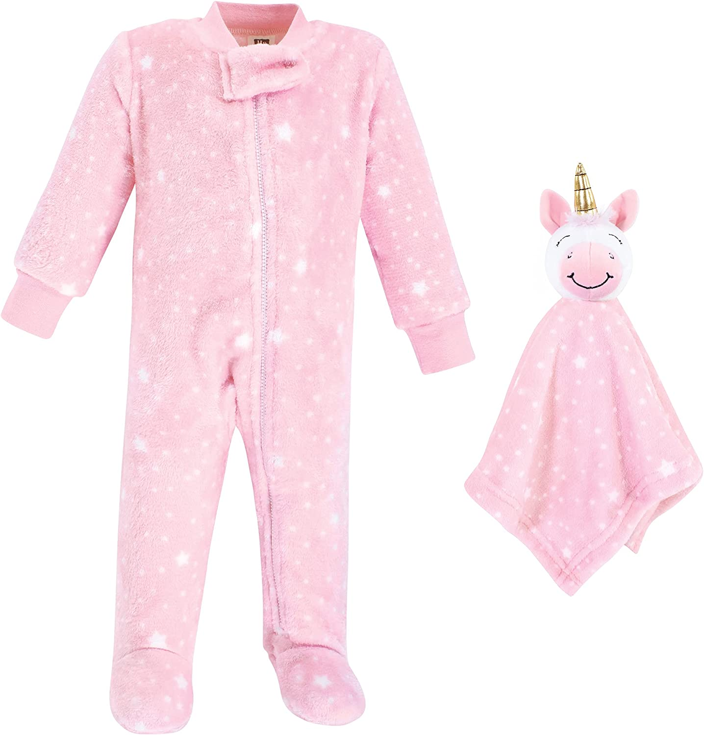 Hudson Baby Unisex Baby Flannel Plush Sleep and Play and Security Toy, Pink Unicorn, 6-9 Months