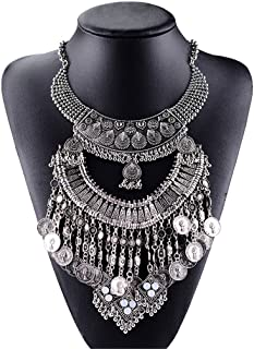 Santfe Vintage Silver or Gold Long Boho Statement Necklace Trendy Bohemian Turkish for Women Accessories Jewelry