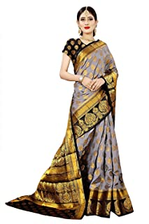 VintFlea Women's Fashion Heavy Woven treditional Banarasi Silk Saree with Blouse Piece Grey Black
