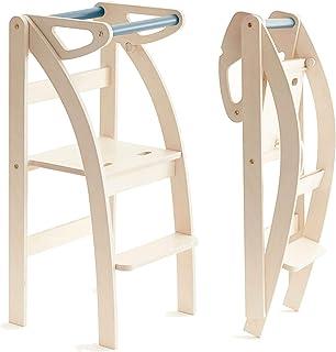 La taue, Ettomio, torre de aprendizaje que se pliega con una sola mano. Plegable y convertible en un taburete o silla. 100% fabricado artesanalmente en Italia.