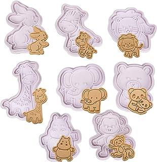 Olywee - Lot de 8 emporte-pièces en plastique 3D en forme d'animaux, pour biscuits au chocolat, décoration de gâteaux