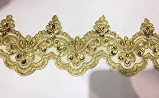 Beaded Lace Trim Sequinned Ribbon Vintage Decorative Wedding/Bridal DIY Craft Sewing Coloured Fabric (Gold, 5 Yards)