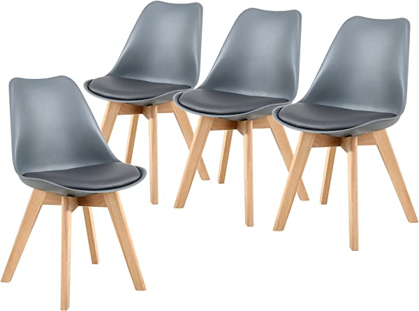 NOBPEINT Eames Style Mid Century Dining Chairs Set Of 4 Gray