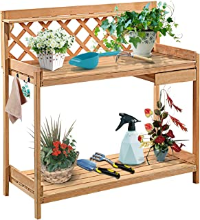 Giantex Potting Bench Garden Potting Benches Outdoor Planting and Gardening Work Station Solid Wood Construction Potting Table with Side Drawer and Rack Shelves 44