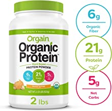 Orgain Organic Plant Based Protein Powder, Peanut Butter - Vegan, Low Net Carbs, Non Dairy, Gluten Free, Lactose Free, No Sugar Added, Soy Free, Kosher, Non-GMO, 2.03 Pound