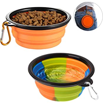 lesotc Collapsible Dog Bowl,2 Pack Silicone Fodable Water Food Bowls for Dogs Cats,Portable Expandable Pet Feeding Watering Cup Dish for Walking Parking Traveling with 2 Carabiners,BPA Free