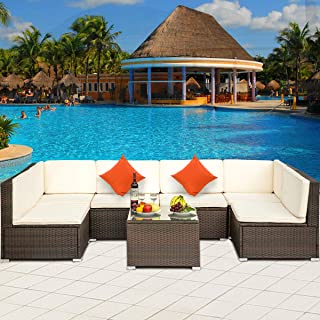 7 PCS Outdoor Rattan Wicker Furniture Set Garden Patio Sectional Sofa with Cushioned Seat and Glass Coffee Table for Poolside, Backyard, Deck or Patio (Beige Cushion)