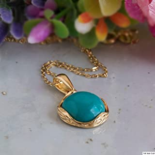 14K Gold Plated Turquoise Necklace - 14K Gold over 925 Sterling Silver, Dainty 12mm Turquoise Gemstone Pendant, December Birthstone, Delicate Handmade Jewelry Vintage Antique Style, Gift for Women