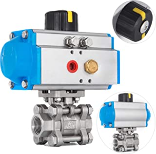 Happybuy Pneumatic Actuated Ball Valve 1/2 inch NPT 3-Piece Pneumatic Valve Actuator Single Acting Stainless Steel Ball Valve Actuator for Food Brewery Dairy Brewing Pharmaceutical