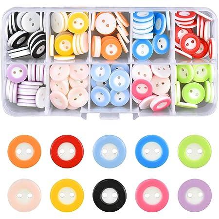 150 Piezas Botón de Resina Botones Redondos Costura de Colores Mezclados Botones de Resina con Caja de Plástico para manualidades de Infantil Costura ...