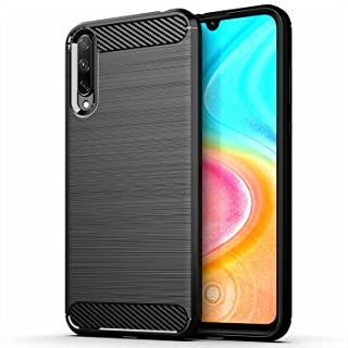 for Huawei Honor 30i Case Brushed Carbon Fiber Texture Style Ultra-thin TPU Soft rubber Anti-drop Protective Cover-Black