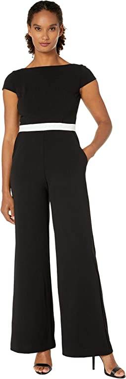 Contrast Bodice Stretch Crepe Jumpsuit