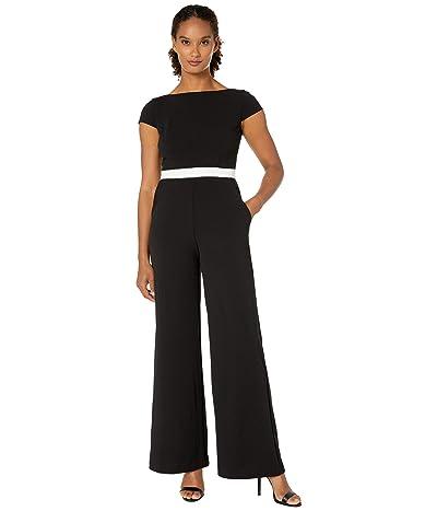 Donna Morgan Contrast Bodice Stretch Crepe Jumpsuit (Ivory/Black) Women