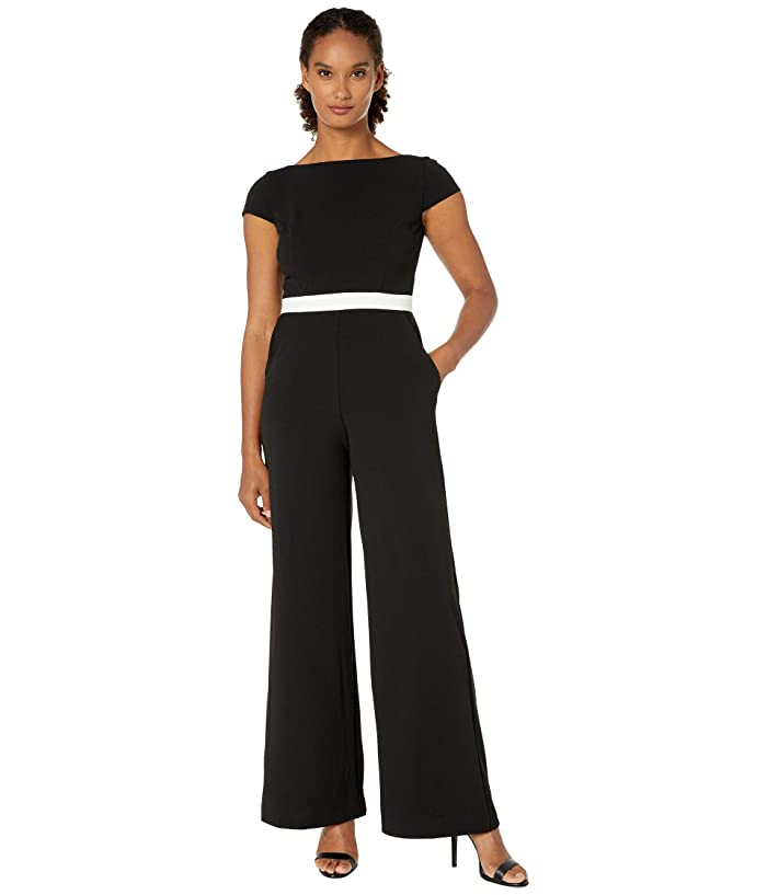 Donna Morgan  Contrast Bodice Stretch Crepe Jumpsuit (Ivory/Black) Womens Jumpsuit and Rompers One Piece